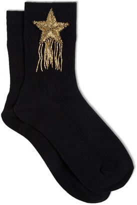 Twin-Set TwinSet Star Embroidered Cotton Socks