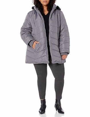 INTL d.e.t.a.i.l.s Women's Davie Thigh-Length Faux Fur Trimmed Winter Coat