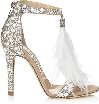 Jimmy Choo VIOLA 110 White Suede and Hot Fix Crystal Embellished Sandals with an Ostrich Feather Tassel