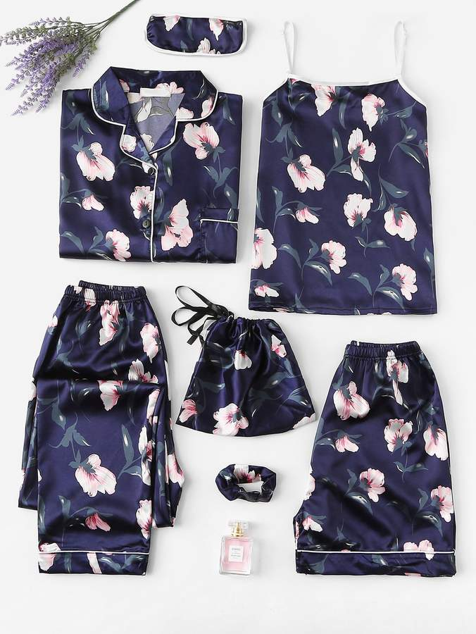 7pcs Floral Print Satin Pajama Set