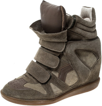 Isabel Marant Green Suede Bekett Wedge High Top Sneakers Size 36