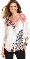 Amy Byer Top, Three-Quarter-Sleeve Animal Paisley Print Shirt