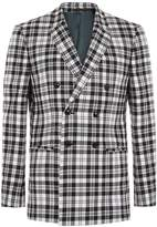 Topman Lochcarron X Topman Black And White Tartan Double Breasted Skinny Suit Jacket