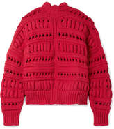Isabel Marant Zoe Oversized Open-knit Cotton-blend Turtleneck Sweater - Red