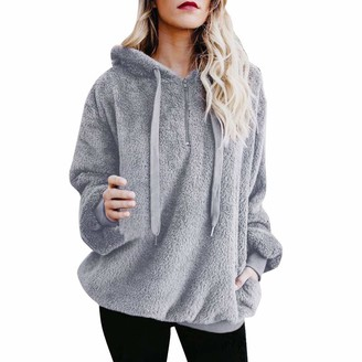 Toamen Women's Tops Toamen Womens Coat Sale Ladies Warm Fluffy Faux Wool Zipper Top Hoodie Sweatshirt Loose Hooded Pullover Jumper(Gray 10)