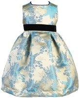 Angels Garment Baby Girls Velvet Ribbon Jacquard Ivory Blue Christmas Dress 24M