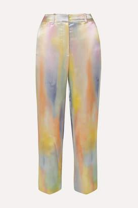 Sies Marjan Willa Cropped Printed Satin Straight-leg Pants - Blue