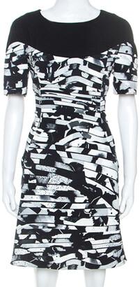 Kenzo Black Spray Striped Stretch Crepe Short Dress M