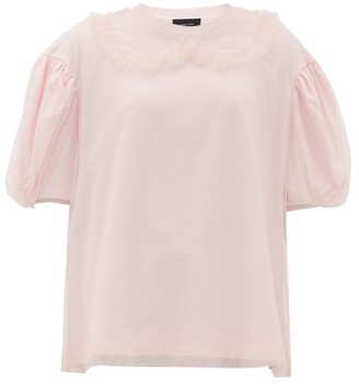 Simone Rocha Puff-sleeve Tulle And Cotton T-shirt - Womens - Pink