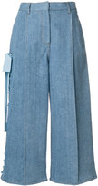Fendi lace-up wide leg denim culottes - women - Cotton/Spandex/Elastane - 44