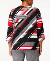 Alfred Dunner Plus Size Embellished Multi-Stripe Top