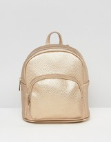 Asos Metallic Mini Backpack With Front Pocket