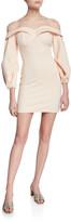 Donna Mizani Camilla Off-the-Shoulder Long-Sleeve Mini Dress