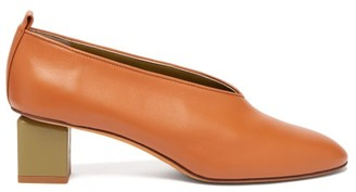 Gray Matters Mildred Block-heel Leather Pumps - Womens - Tan Multi