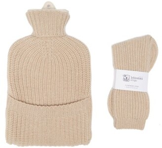 Johnstons of Elgin Cashmere Hot Water Bottle Cover And Socks Set - Beige