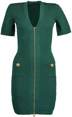 Balmain Green V-Neck Diamond Knit Zip Mini Dress