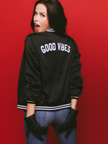Sub Urban Riot Suburban Riot Good Vibes Varsity Bomber Jacket in Black as seen on Jamie Chung