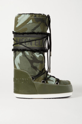 Yves Salomon Moon Boot Shearling-trimmed Camouflage-print Shell And Leather Snow Boots - Army green