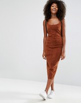 Asos Cord Stretch Dress in Awkward Length in Brown