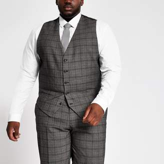 River Island Mens Big and Tall dark Grey suit wasitcoat