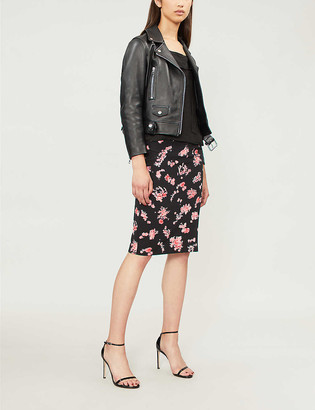 Pinko Jami floral-pattern woven pencil skirt