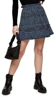 Topshop Crystal Animal Print Miniskirt