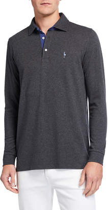 Tailorbyrd Men's Long-Sleeve Contrast Cotton Polo Shirt
