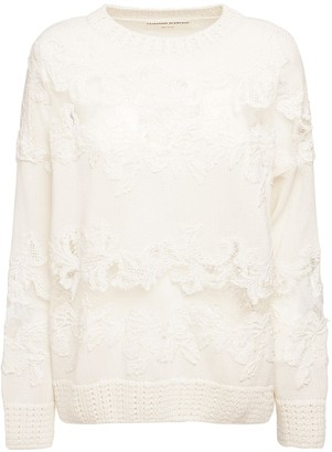 Ermanno Scervino Cotton Knit Crewneck Sweater W/ Lace