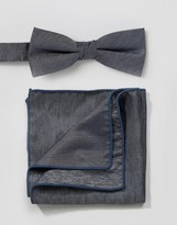 Minimum Bow Tie And Pocket Square Set In Chambray