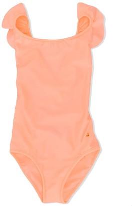 Bonpoint Ruffle Trim Crisscross Back Swimsuit