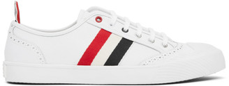 Thom Browne White Vulcanized Brogued Sneakers