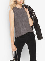 Michael Kors Ribbed Metallic Cotton-Blend Top