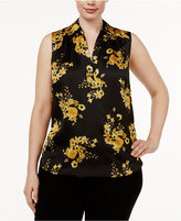 INC International Concepts Plus Size Printed Surplice Top, Only at Macy's