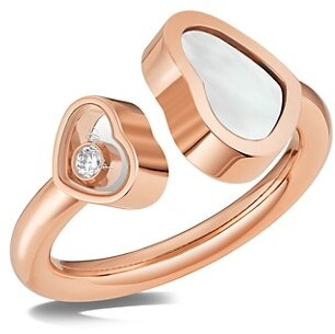Chopard Happy Hearts 18K Rose Gold, Diamond & Mother-Of-Pearl Ring