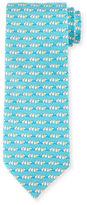 Salvatore Ferragamo Dog Tug-Of-War Printed Silk Tie, Aqua