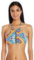 Jessica Simpson Women's Surfside Reversible High Neck Halter Bikini Top