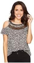 Lucky Brand Women's Cold Shoulder Crochet Top