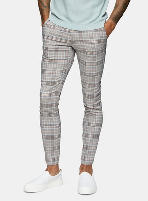 Topman Stone Check Skinny Fit Suit Trousers