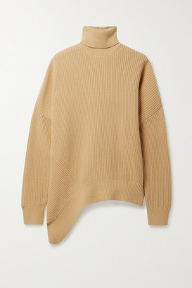 Michael Kors Collection Asymmetric Ribbed Cashmere Turtleneck Sweater - Sand