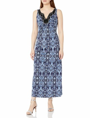 Ronni Nicole Women's Sleevless Printed Maxi with Embellished Neck Trim
