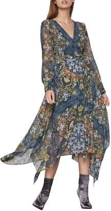 BCBGMAXAZRIA Noveau Floral Chiffon Midi Dress