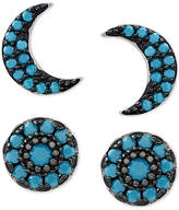 Macy's 2-Pc. Set Manufactured Turquoise Moon Stud Earrings Set in Sterling Silver