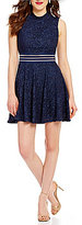 Jodi Kristopher Mock Neck Illusion Waist Glitter Lace Skater Dress