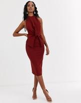 Asos Design DESIGN high neck backless pencil midi dress