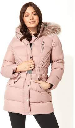 M&Co Roman Originals long belted faux fur trim coat