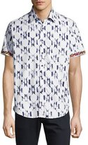 Robert Graham Parsis Geometric-Print Short-Sleeve Sport Shirt, White