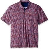 Bugatchi Men's Modern Trim Fit Ruby Multi Printed Polo Shirt S