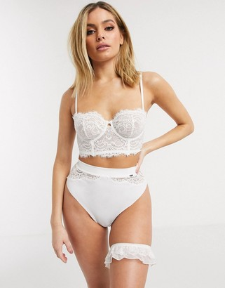 Lindex Ella M Smilla bridal lace high waist thong in white