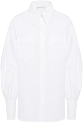 Alberta Ferretti Gathered Cotton-blend Poplin Shirt