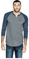 GUESS Men's Aldous Long-Length Raglan Tee